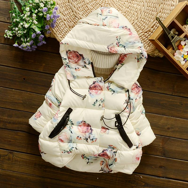Small Floral Pattern Hooded Fashion Clothes Cute Girl Coat Warm Winter Cotton Jacket Lovely Cotton Girls Clothing New Style60007<br><br>Aliexpress