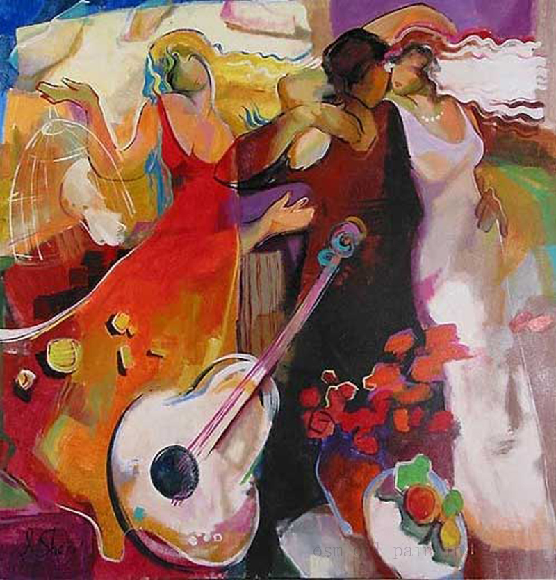 Hand Painted Abstract Fine Wall Art Painting Melody Love Sample Video the Man and Sexy Women Happy Decorative Hang Picture Craft(China (Mainland))