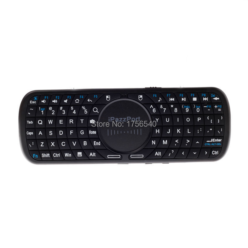 iPazzPort 2.4GHz KP-810-19BV Mini QWERTY Wireless Keyboard Audio Transmission Touchpad Fit Windows 2000 XP CE Vista Linux Black(China (Mainland))