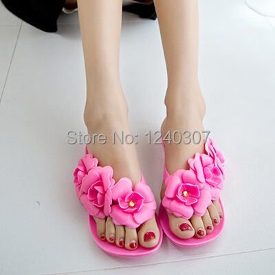 2014 Camellia flops summer sandals female models stereo camellia jelly sandals slippers wholesale<br><br>Aliexpress