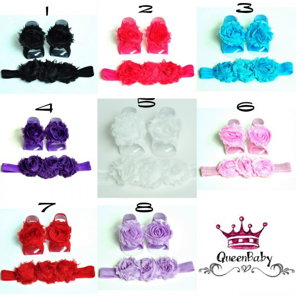 Baby Barefoot Sandals with Shabby Flower and Matching Headband  120set/lot QueenBaby<br><br>Aliexpress