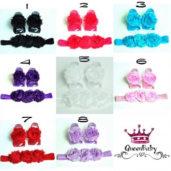 Baby Barefoot Sandals with Shabby Flower and Matching Headband 120set/lot QueenBaby