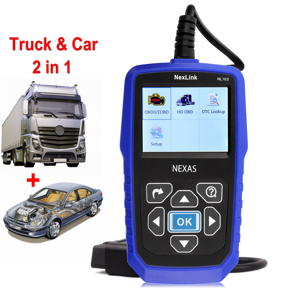 Car Truck 2 in 1 Diesel Engine Scanner for VOLVO NexLink NL102 OBD2 Heavy Duty Analyzer Diagnostic Tool with Battery Tester(China (Mainland))