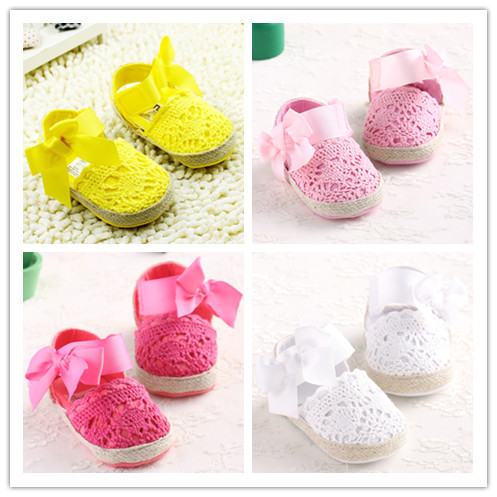 First Walkers Zapatos Infantile Bebe Girl Shoes Chaussures Bebe Girl Newborn Crochet Baby Shoes Yellow Red White Pink To Choose(China (Mainland))
