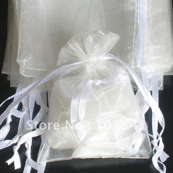 Cream color 2.7x3.5inch(7x9cm) 500pcs Wedding Favor Accessories Jewelry Organza Gift Bags Pouch ZZZ64