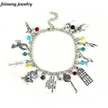 Drop Shipping Shylock Charm Bracelet John Watson Johnlock Bangle Key Door Clothes Crystal Beads Accessories Women