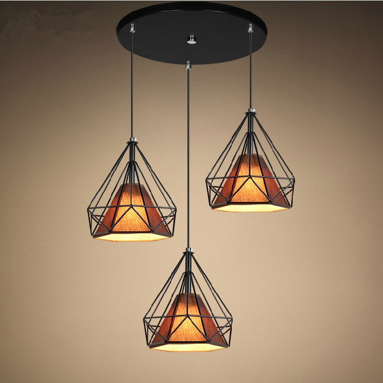 Loft Industrial Creative Iron Black Diamond Shape Living Room Pendant Light  Restaurant Light Sitting Room Light Free Shipping<br><br>Aliexpress