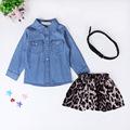 2016 Spring Latest Children s Clothing set Girl Long Sleeve Denim shirt leopard skirt belt fashion