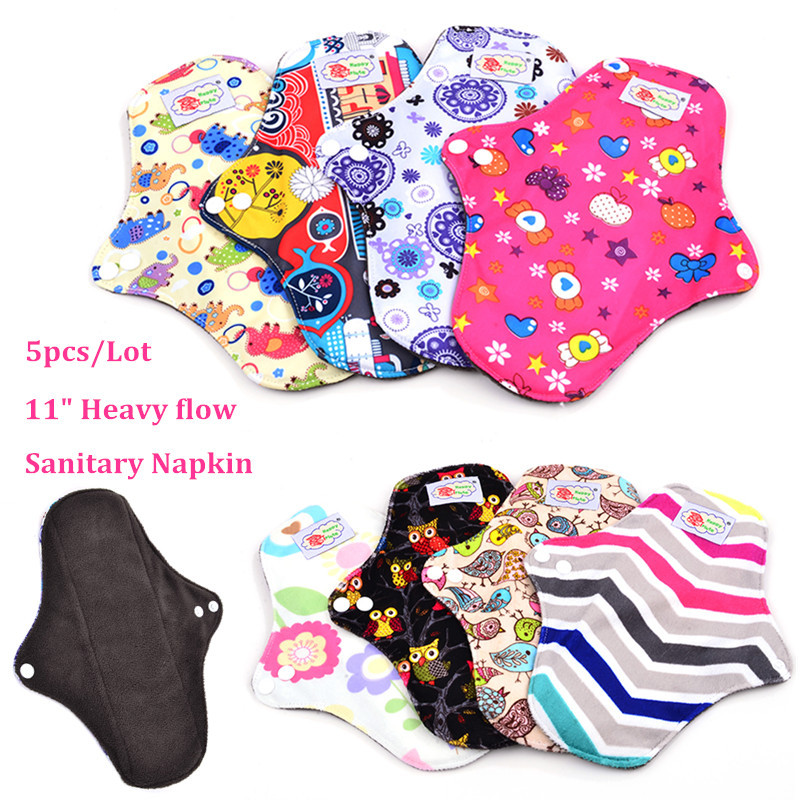 "5pcs/Lot , 11"" heavy flow Bamboo charcoal Cloth Menstrual Pad Female Sanitary Pad, Breathable Reusable Washable Sanitary Napkin(China (Mainland))"