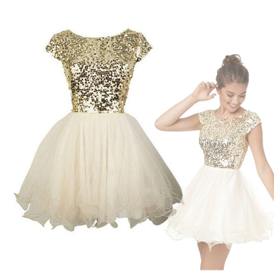 Gold And White Short Homecoming Dresses - Prom Dresses Vicky