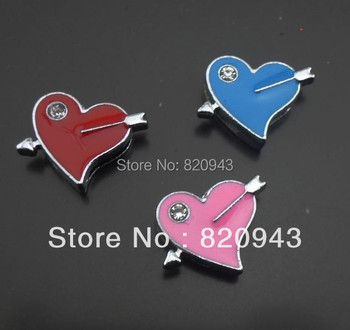 50pcs 8mm mixed color Arrow with one rhinestone heart slide charm can go through 8mm band fit wristband pet collar/ key chain
