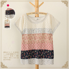 2015 New Summer Japanese Mori Girl Women Hollow Out Printed Patchwork Short Sleeve Cotton T-Shirts,Female O-Neck Tops al455(China (Mainland))