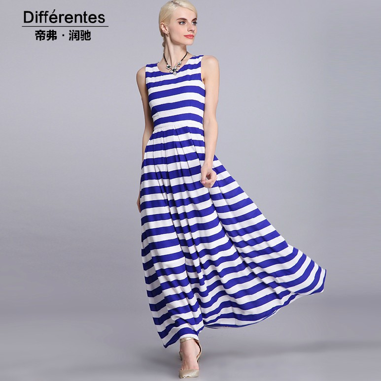 Robe longue rayée bleu et blanc - Fashion Club Wear 5360b695ed36