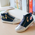 Yeeshow 2016 New Canvas Kids Shoes Wearable Rubber Sneakers Boys High Breathable Letter Zipper Girls Shoes