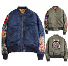 Autumn Winter Bape Baseball Jacket with Shark Wgm Embroidery Mens Military Ma1 Bomber Jackets Men Street Fashion Down Coats(China (Mainland))