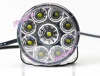 Led 9W fog lights or DRL, D7cm round piranha white led daytime lamp, E4 waterproof, free shipping