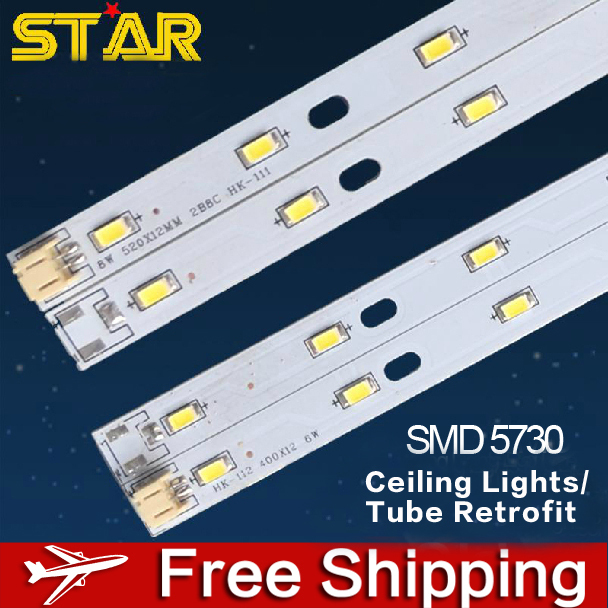 New 6W 12W 18W 24W SMD 5730 Ceiling Lights LED bulbs H tubes,AC110-240V LED Bar Rigid Strip Replacement for Energy Saving Lamps(China (Mainland))