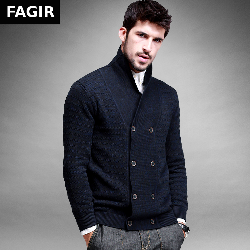 2016 Autumn Mens Sweaters Male Winter Double Breasted Cardigan Man's Blue Knitwear Slim Fit Brand Clothing SweaterCoats JMY017(China (Mainland))