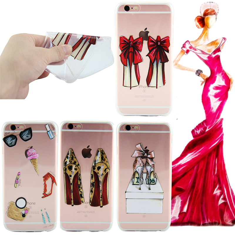 For iPhone 7 Case Gorgeous High Heel Shoes Soft Silicone Phone Cases Cover Coque For iPhone 7 Transparent Clear Cell Phone Case(China (Mainland))