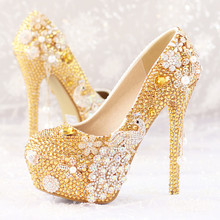 flower pendant tassel pearl bridal shoes Phoenix High heel waterproof Diamond Gold wedding shoes(China (Mainland))