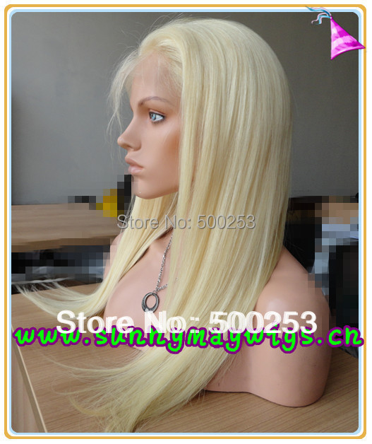 Stock blonde straight  Malaysian virgin hair ladies full lace wigs with baby hair<br><br>Aliexpress