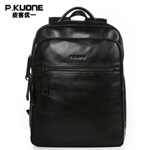 Buy P.KUONE Brand Men Genuine Cow Leather Backpack Large bagpack Male Business Back Pack Travel Rucksack School Backpack Bag Black for $119.98 in AliExpress store