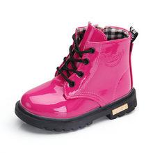 חדש 2019 בנות עור מגפי נערי נעלי אביב סתיו עור מפוצל ילדים פעוטים אופנה ילדי מגפי חם חורף מגפי 3BB(China)