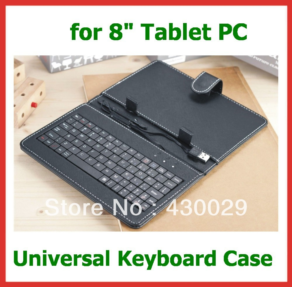 """8 inch Keyboard Case Mini USB/Micro USB/USB Port for 8"""" Android Tablet PC Leather Cover Case Bag Russian English Free Shipping(China (Mainland))"""