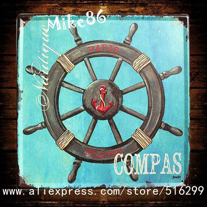 [ Mike86 ] COMPAS Vintage Poster Art House Pub Vintage Painting Decorative 30*30 CM H-52(China (Mainland))