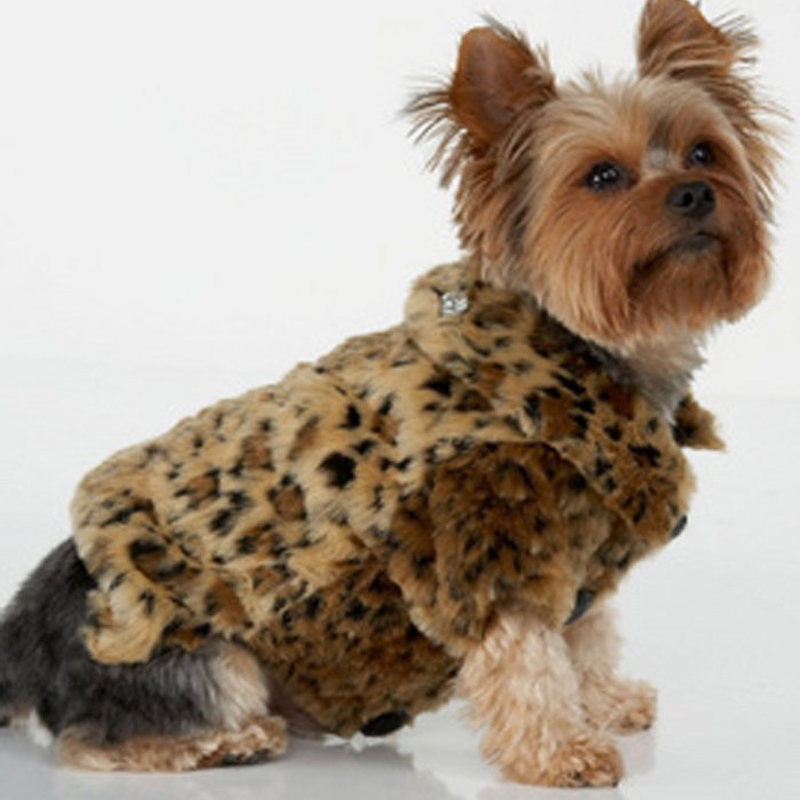 Name Brand Fur Coat Leopard Print Big pet Dog Winter Clothes for Warm Fleece Jacket With Bling Crown Pin Panic buying(China (Mainland))
