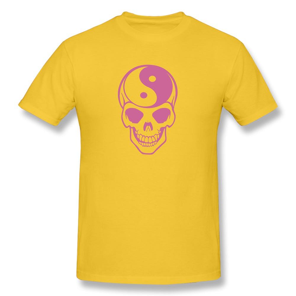 Latest Round Neck Ying Yang skeleton skull grinning tees shirt For Man's 2015 Nice Men 3D t shirt at Manufacturing Price(China (Mainland))