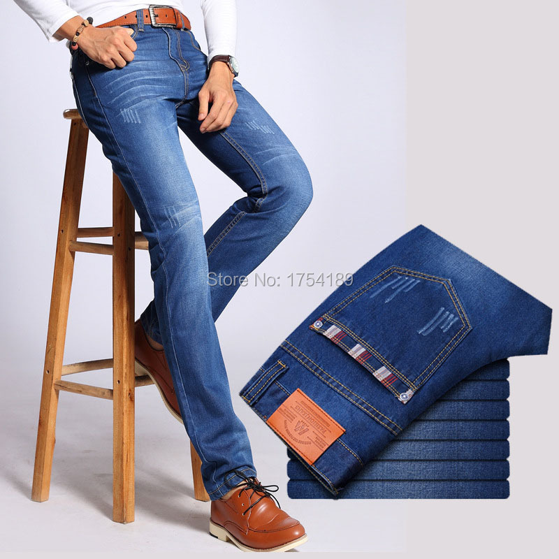 2016 Hot sale Superior Quality Up To Date Styling Fashion Men's Jeans Straight Slim 100% Cotton Denim Great Black Blue MJ16001(China (Mainland))