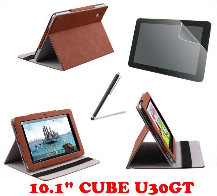 "For Cube U30GT Tablet PC Brown High Quality 10.1"" Stand luxury leather case + Free Stylus Pen + Free Screen Protector(China (Mainland))"
