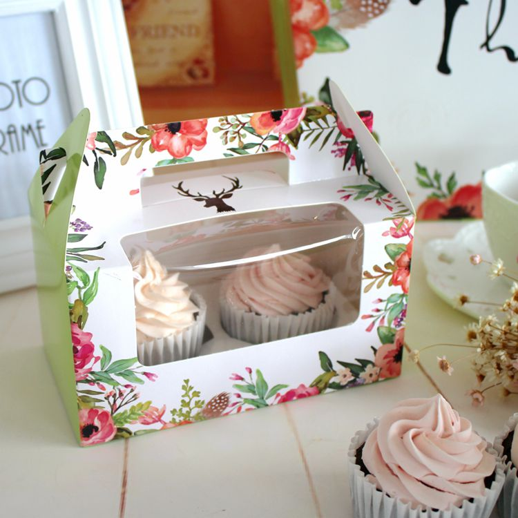 Rectangle flower portable cup cake box small pastry gift packaging cups muffin packing box carrying a box of biscuits(China (Mainland))