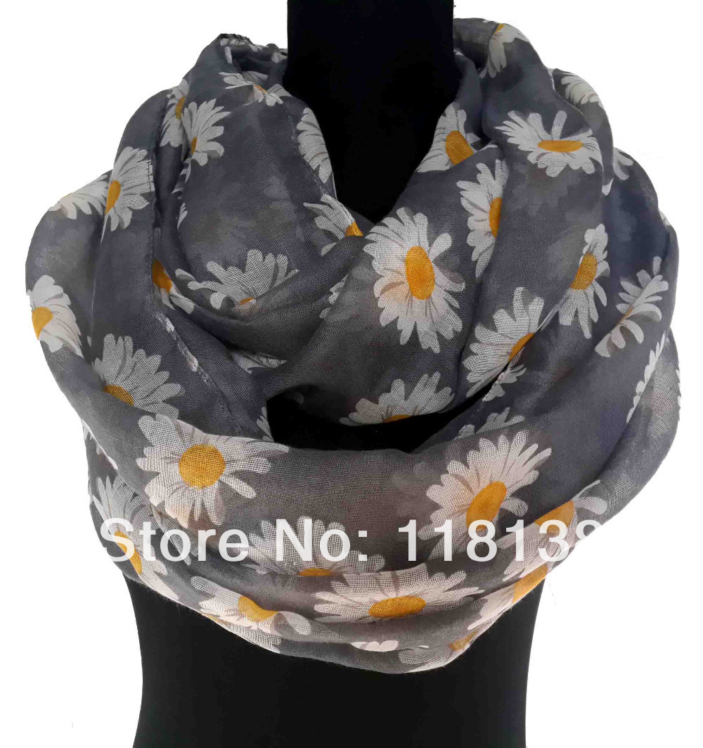 Fashion Daisy Flower Print Floral Infinity Scarf Circle Loop Cowl Ladies Accessories Gift, Free Shipping(China (Mainland))