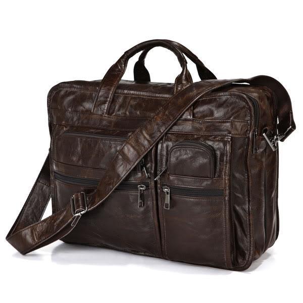 """ซื้อ Vinatgeจริงหนังแท้ผู้ชายของMessengerกระเป๋าหนังวัวพอร์ตการลงทุนกระเป๋าเอกสารหนังวัว15.6 """"แล็ปท็อปกระเป๋าสะพาย# VP-J7093"""