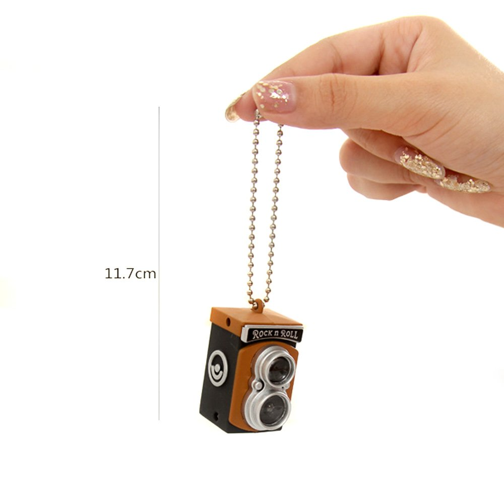 5x Cute Mini Double Twin Lens Reflex TLR Camera Style LED Flash Light Torch Shutter Sound Keychain(China (Mainland))