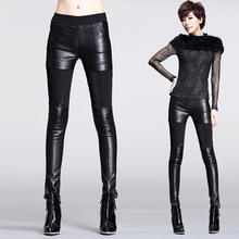 2015 winter new European and American Slim pants leather pants leggings stretch pants feet thick pencil pants trousers(China (Mainland))