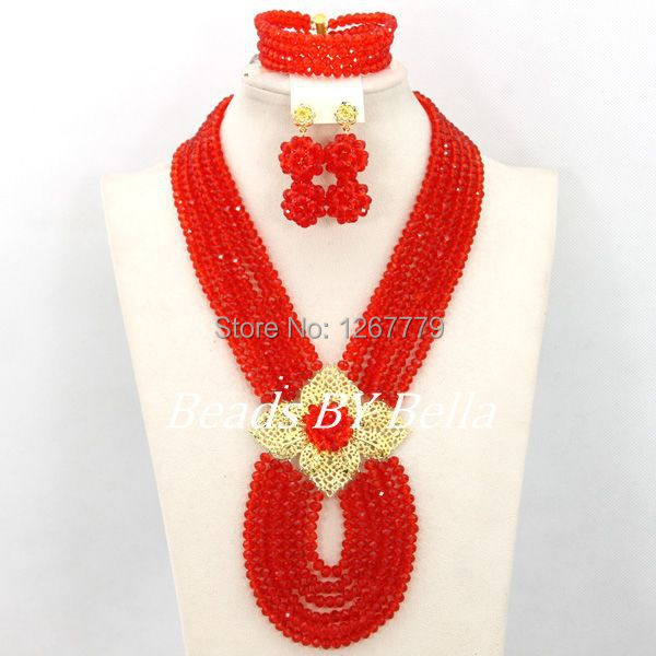 Hot New Bridal Jewelry Sets Red Nigerian Wedding African Beads Jewelry Set Crystal Fashion Gift Neckalce