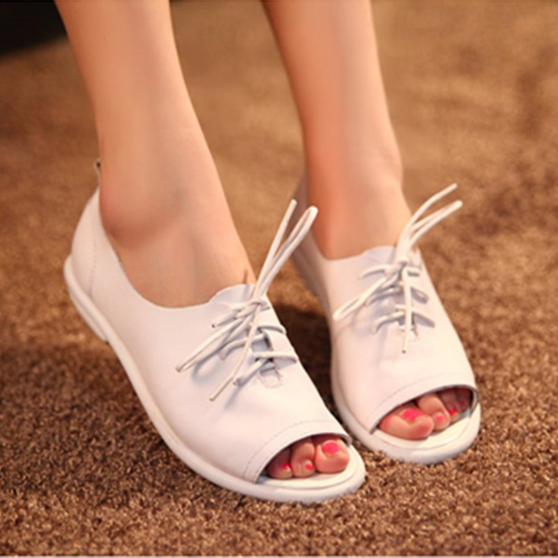 Women Summer summer new open toe shoes sexy fashion vintage shoes flat low-heeled gommini loafers lace-up slipper(China (Mainland))