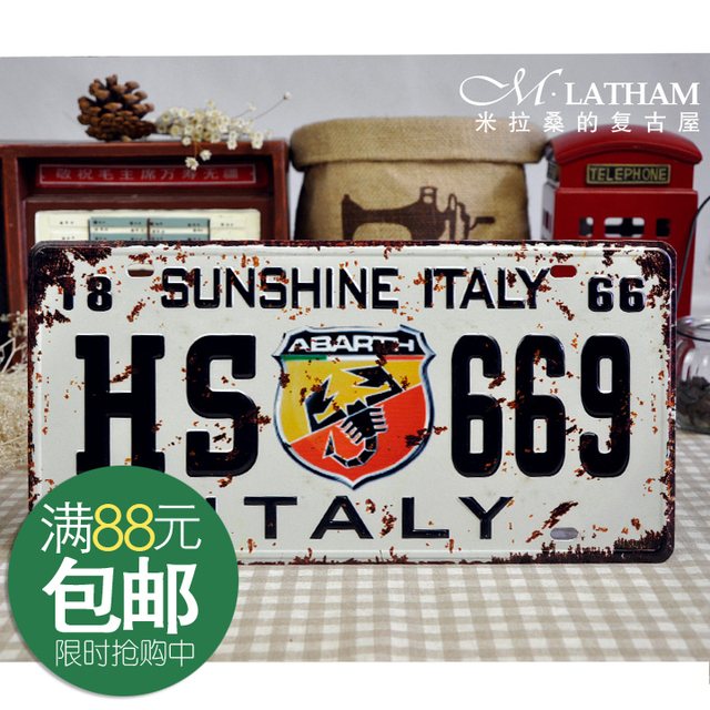Metal painting antique iron decorative belt home painting car painting short emblem license plate