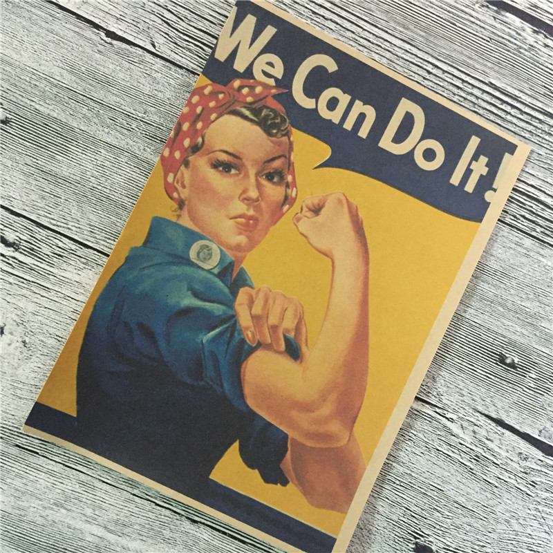 World War II WE CAN DO IT Vintage Kraft Paper Old classic match poster Paint Retro Wall Art Living Room Sticker 42x30cm YIP-S027(China (Mainland))
