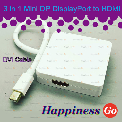 3 in 1 Mini Display Port to DVI HDMI DP Adapter Audio & Video Cable For apple MAC pro AIR Macbook(China (Mainland))