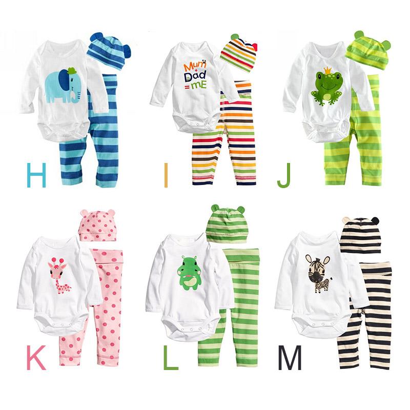 2015 Hot Newborn Baby Girl Clothing Set (Romper+Hat+Pants 3 pcs) Infant Baby Boys Clothes Babies Pajamas Roupas Bebes(China (Mainland))