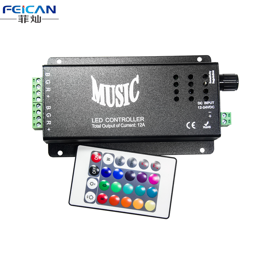 DC12-24V 12A LED Music Controller 24 Keys Wireless IR remote Control RGB Dimmer 2 Ports Output For RGB LED Strip Light(China (Mainland))