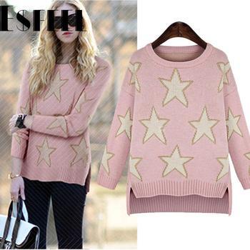 Esfeel весна новый трикотажные свитера европа стиль женщины звезда печатных широкий свободного покроя пуловеры с длинным рукавом теплая одежда 3 цвета