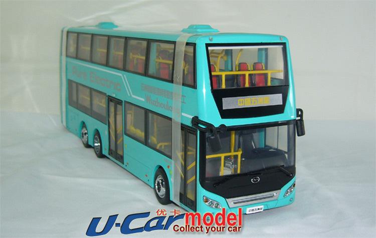 1pcs / lot 1:43 China Wuzhoulong FDG6120HEVS New Energy Hybrid Motor bus car model Blue (New arrival)(China (Mainland))