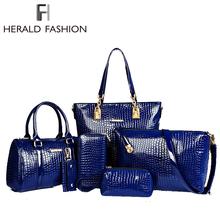 Бренд класса люкс 6 компл. сумки сумочку + сумка на плечо + сумка + кошелек + ключевой мешок лакированной кожи дизайн сумки для женщин 2015 нужно обязательно иметь