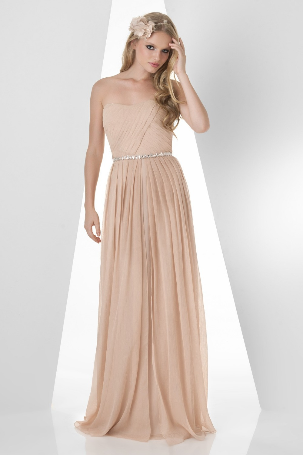 2015 strapless draped floor length chiffon champagne a for Dresses for wedding bridesmaid