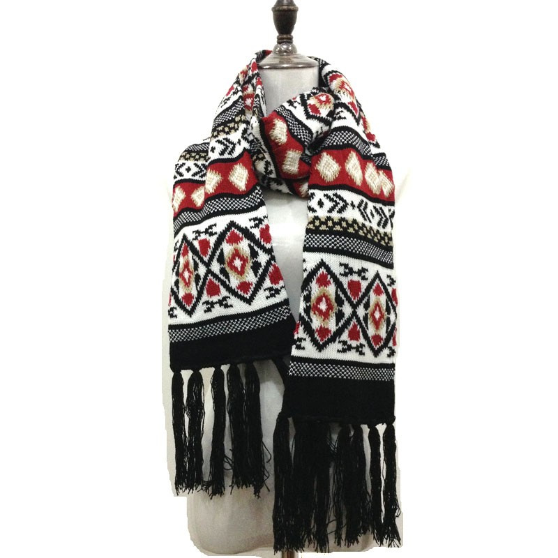 Fashion tassel knitted tartan cashmere scarf for women men winter pure pashmina plaid magic tube scarves luxury brand Design